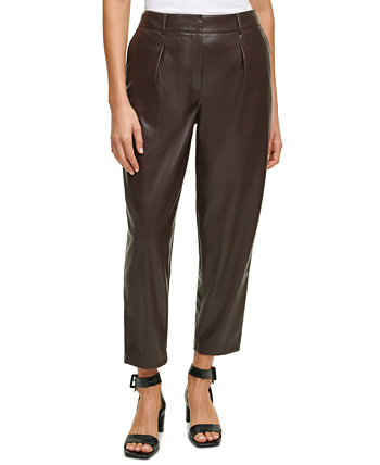 Pleat-Front Faux-Leather Cropped Pants Calvin Klein
