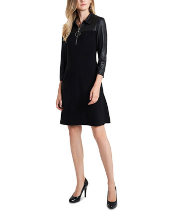 Faux-Leather-Detail O-Ring Shift Dress MSK