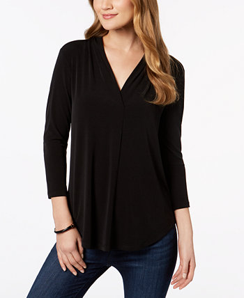 Petite Pleat-Neck 3/4-Sleeve Top, Created for Macy's Charter Club