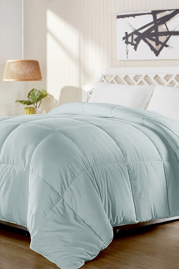 All Season Duck Feather and Down Comforter - King - Light Blue Blue Ridge Home Fashions