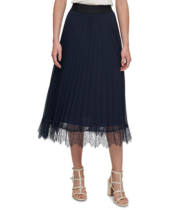 Pleated Lace-Trim Skirt DKNY