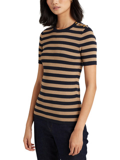 Button-Trim Metallic Striped Sweater Ralph Lauren