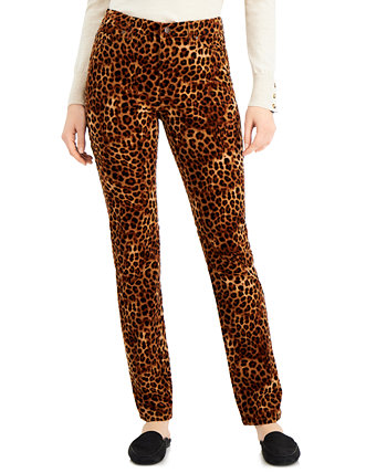 Tummy-Control Printed Corduroy Pants, Created for Macy's Charter Club