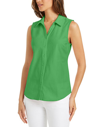 Petite Cotton Shirt, Created for Macy's Charter Club