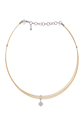 18K Yellow Gold Stainless Steel Diamond Choker Necklace ALOR