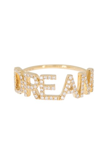 14K Yellow Gold Pave 'DREAM' Ring - Size 8 EF Collection