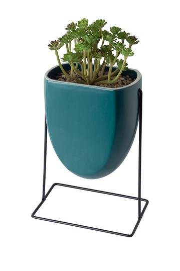 Teal Succulent Planter on Metal Stand Home Essentials and Beyond