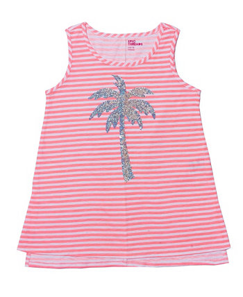 Big Girls Flip Sequin Graphic Knot Front Tank Epic Threads