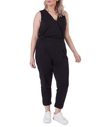 Plus Size Banded Wrap Jumpsuit Black Tape