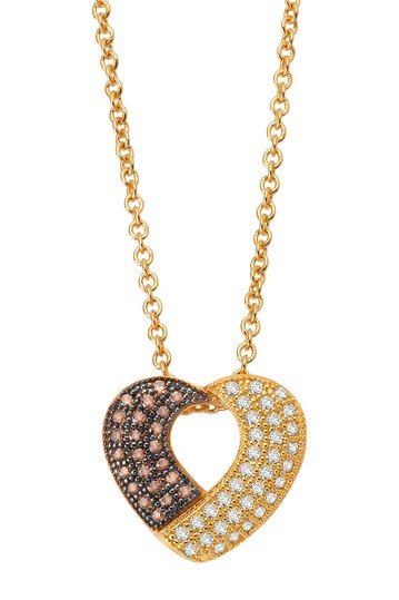 18K Gold & Black Rhodium Plated Simulated Diamond Detail Open Heart Pendant Necklace LaFonn