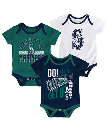 Baby Seattle Mariners Newest Rookie 3 Piece Bodysuit Set Outerstuff