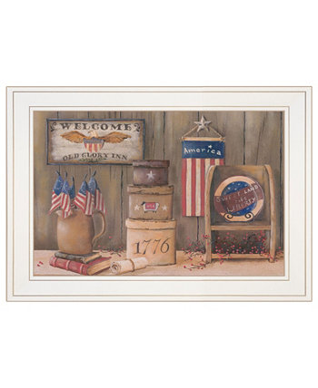 "Sweet Land of Liberty by Pam Britton, Ready to hang Framed Print, White Frame, 19"" x 15"" Trendy Décor 4U"