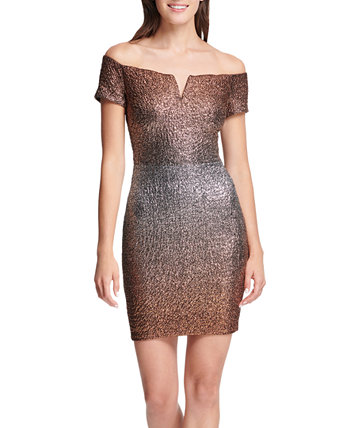 Off-The-Shoulder Metallic Bodycon Dress GUESS