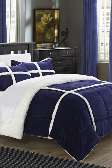 Queen Camille Box Sherling Lined Comforter Set - Navy No brands