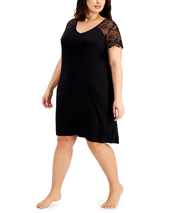 Plus Size Lace-Sleeve Nightgown, Created for Macy's Charter Club