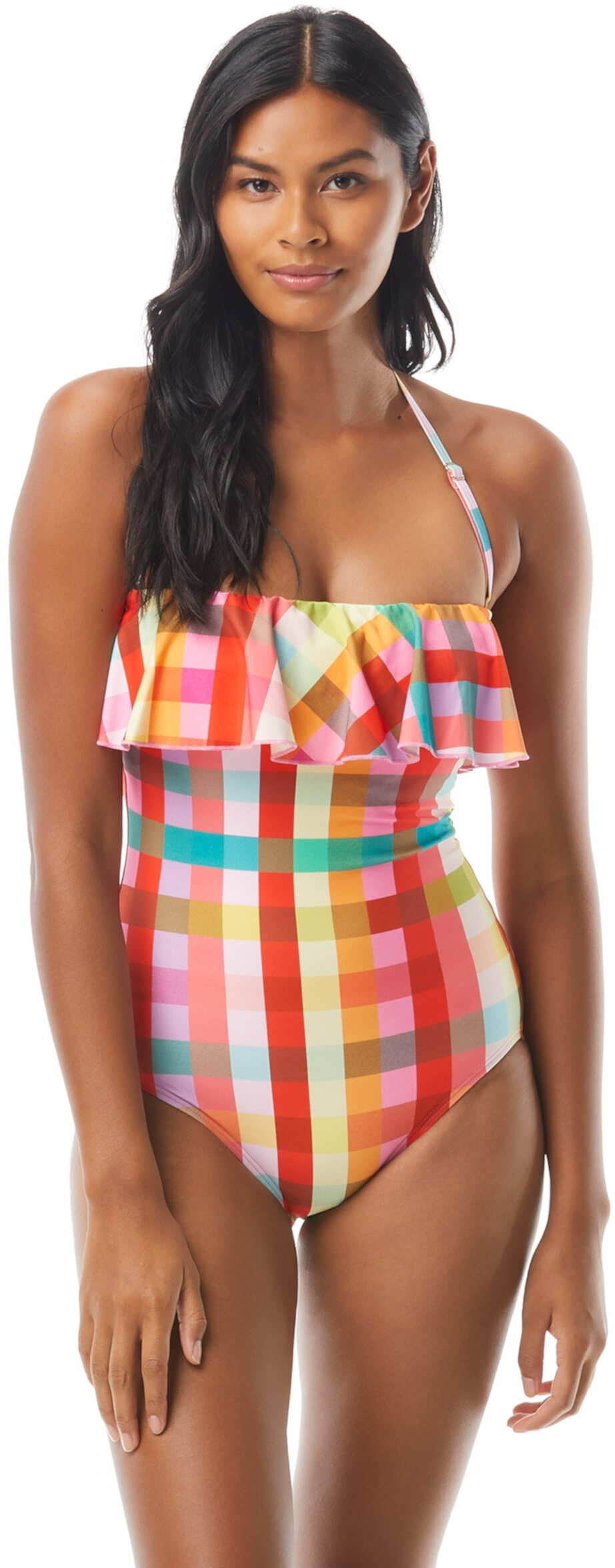 Garden Plaid Ruffle Bandeau One-Piece w/ Underwire and Removable Straps Kate Spade New York