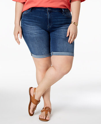 Plus Size Cuffed Denim Shorts, Created for Macy's Tommy Hilfiger