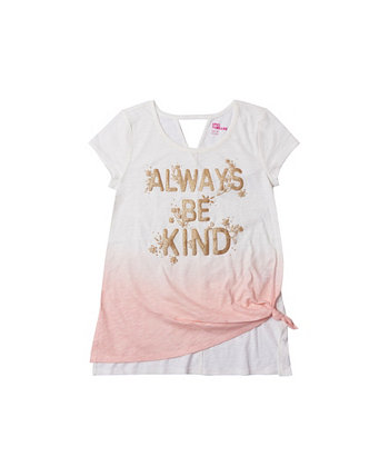 Big Girls Short Sleeve Knot Front Text Tee Epic Threads