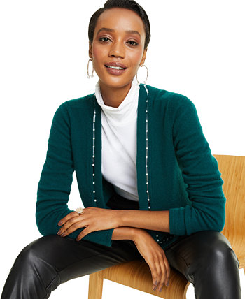Imitation Pearl Placket Cashmere Cardigan, Created for Macy's Charter Club