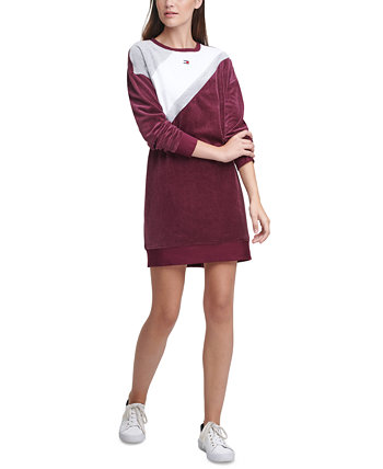 Dropped-Shoulder Colorblocked Crewneck Sweater Dress Tommy Hilfiger