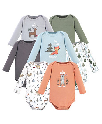 Boys and Girls Cotton Bodysuits, Long Sleeve Hudson Baby