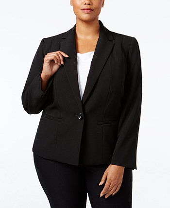 Plus Size Crepe One-Button Blazer Kasper