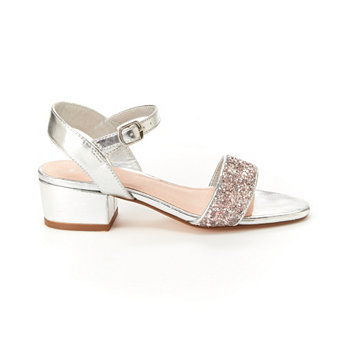 Toddler, Little & Big Girls Hillary Metallic Sandal with Glitter BCBGeneration
