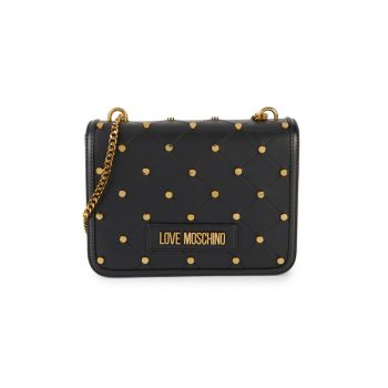 Studded Quilted Shoulder Bag LOVE Moschino