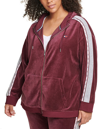 Plus Size Logo-Tape Velour Hoodie Tommy Hilfiger