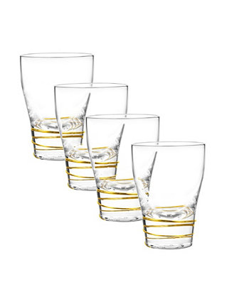 Helix Gold Double Old Fashioned Glasses, Set Of 4 Qualia Glass