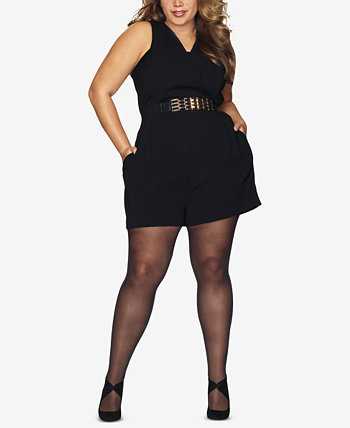 Curves Plus Size Black Out Tights Hanes
