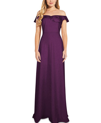 Ruffled Off-The-Shoulder Gown Adrianna Papell
