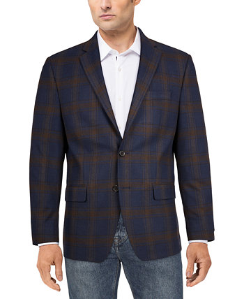 Men's Classic-Fit Ultraflex Stretch Blue/Brown Plaid Sport Coat Ralph Lauren