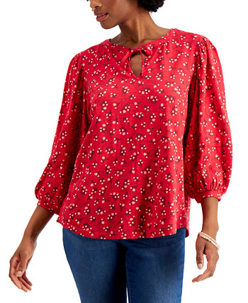 Cotton Puff-Sleeve Peasant Top, Created for Macy's Style & Co