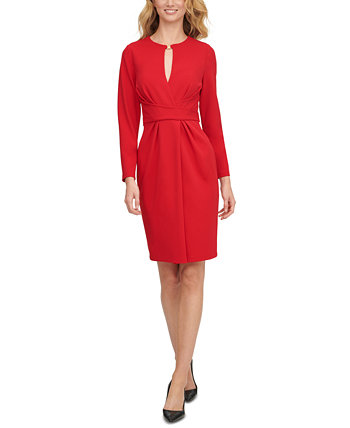 Keyhole-Cutout Faux-Wrap Dress DKNY
