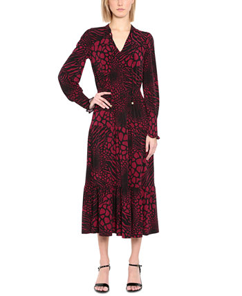 Printed Long-Sleeve Maxi Dress Michael Kors