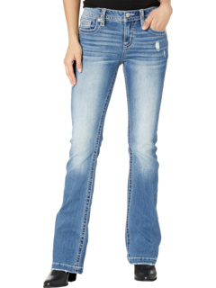 Feather Pocket Bootcut in Medium Blue Miss Me
