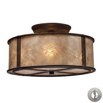 Barringer 3-LIght Semi-Flush in Aged Bronze and Tan Mica Shade ELK Lighting