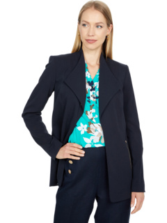 Open Front Jacket with Lapel and Side Zipper Pockets Calvin Klein