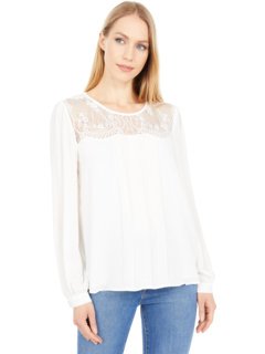 Long Sleeve Lace Yoke Pleated Front Blouse Vince Camuto