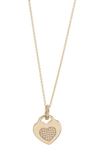 14K Yellow Gold Diamond Heart Necklace - 0.085 ctw Ron Hami