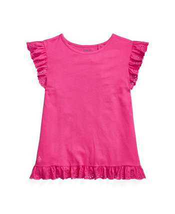 Big Girls Eyelet Jersey Top Ralph Lauren