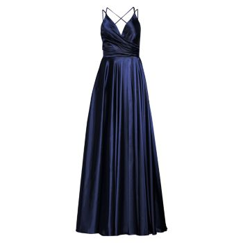 Charmeuse Pleated Ball Gown Faviana