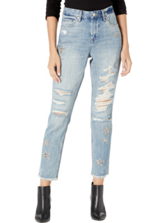Snake Printed Star Patch Crop Girlfriend Jeans in Star Child Blank NYC