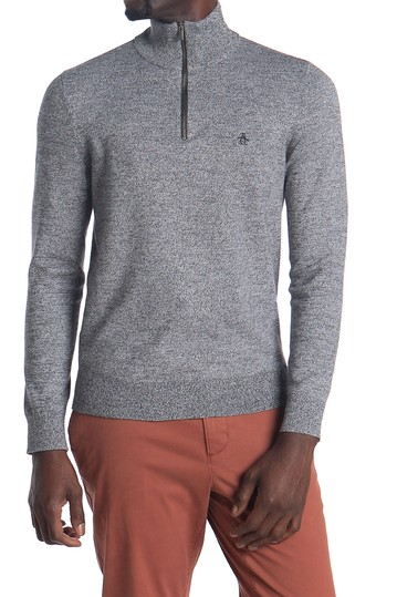 Marled Knit Partial Zip Sweater Original Penguin