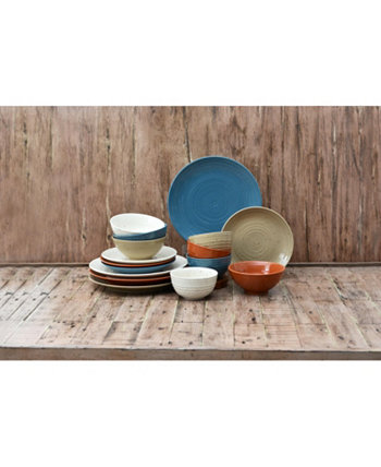 Siterra Painters Palette 16 Piece Dinnerware Set, Service for 4 222 Fifth