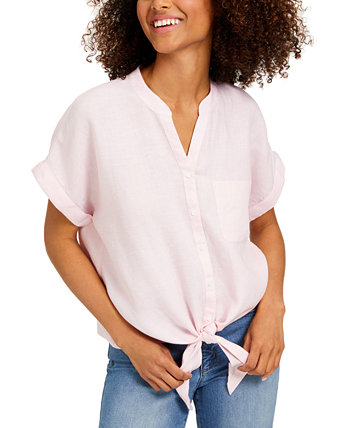 Petite Linen Tie-Front Shirt, Created for Macy's Charter Club
