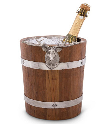 Teak Wood Vintage-Inspired Pail Ice, Wine, Champagne Bucket with Pewter Elk Head Accent Vagabond House