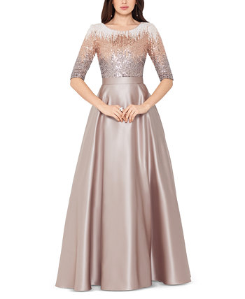 Embellished Satin Gown Betsy & Adam