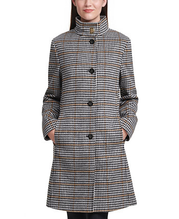 Stand-Collar Houndstooth Walker Coat Calvin Klein